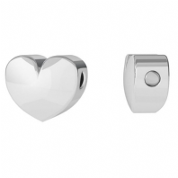 Sterling Silver Heart Charm 7mm 3D Heart